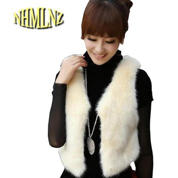 Winter New Fashion Women Sweet Coat Elegant Slim V-neck Sleeveless Fur Vest Big yards Copy fox MAO Fur Short Warm Coat G1988