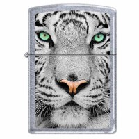 Zippo 0245 Classic Street Chrome White Tiger Face Windproof Pocket Lighter