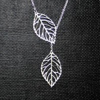 Silver Leaf lariat Necklace by smilesophie