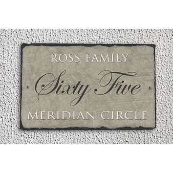 Customizable Slate Home Address House Sign - Dark Beige - Handmade and Personalized