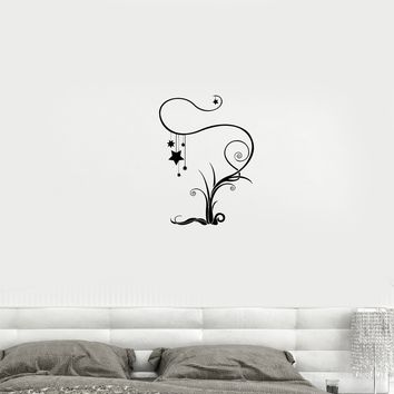 Wall Decal Flowers Tree Plants Fantasy Stars Dream Bedroom Decor Vinyl Sticker Unique Gift (ed811)