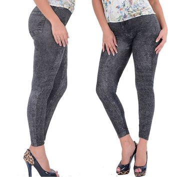 Hot Product Lady Girl Black Sexy Faux Jean Skinny Jeggings Stretchy Slim Pants Plus Size Ankle-Length Pants Women Jeans