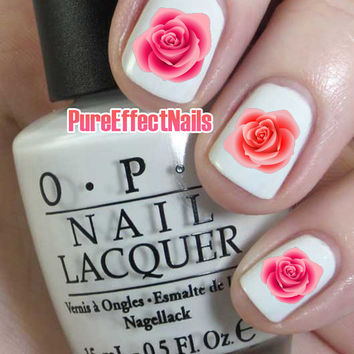 Coral and Pink Rose Nail Decals