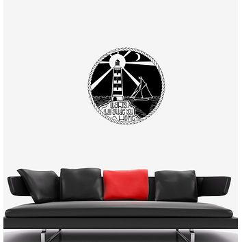 Wall Decal Sea Ocean Sailing Ship Lighthouse Night Vinyl Sticker Unique Gift (ed800)