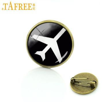 TAFREE Plane brooches pins Vintage aircraft silhouette art glass dome brooch men and women hipster accessories jewelry T770
