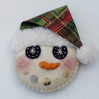 Snowman Ornament PATTERN Instant Download PDF I.C. Flakes epattern by Happy Valley Primitives