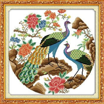 HOT Two peacocks cotton DMC Animal cross stitch kits 14ct white 11ct printed embroidery DIY handmade needle work wall home decor