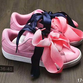 Puma Suede Heart Satin Bow Slide Sandals Shoes sneakers Pink B-DXTY-XZ