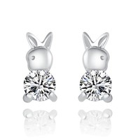 CoolGo Women Bunny Rabbit 925 Sterling Silver Stud Earrings 9mm with Cubic Zirconia CZ Pave Diamond
