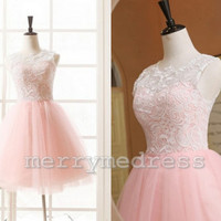 Lace-applique Sheer Straps A-Line Short Bridesmaid Dress, Tulle Formal Evening Party Prom Dress New Homecoming Dress