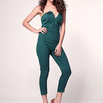 Green Strapless V-Cut Jumpsuit