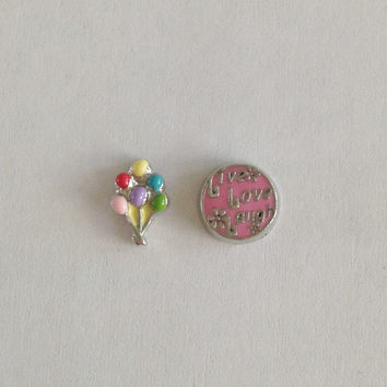 Floating charms for living memory lockets -balloons, pink live love laugh