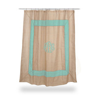 Monogrammed Burlap Shower Curtain POOL colored  boarder  Font shown MASTER CIRCLE in light pool