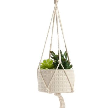 Hanging Potted Faux Succulents