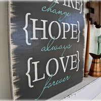 Life Rules- Love, Laugh, Live, Choose- Shabby Chic Typography Sign-Charcoal Gray