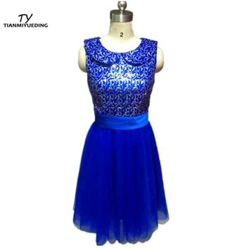 Royal Blue Short Cocktail Dresses Sequin Top Ruched Tulle Vestidos Coctel Formal Vestido Curto Cheap In Stock Mini Dress 2017