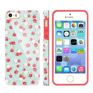 iPhone 5S Cases for Girls, Akna Glamour Series [Flexible TPU]*[High Impact] Soft Back Case for iPhone 5 5S [English Flower](U.S)