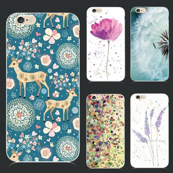 For iPhone7S Soft TPU Cover For Apple iPhone 7 7S iPhone7 Case Cases Phone Shell New Fashion Painted Beautiful Flowers And Deer