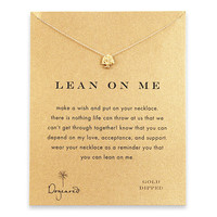 lean on me reminder necklace with gold dipped tree