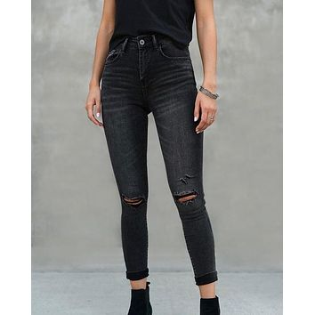 Clara Faded Dark Grey High Rise Distressed Skinny Jeans