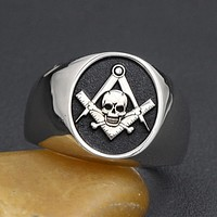 Widow's Son Skull and Bones Masonic 925 Sterling Silver Ring