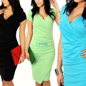 LMFUG3 2014 Newest Summer Women's Short Sleeve V-neck Elegant Casual Formal Work Evening sexy Pencil Plus Size Dress = 1932302468