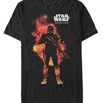 Star Wars Rogue One Storm Trooper In Flames Adult Unisex T-Shirt - Black