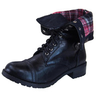 Oralee-S Lace Up Cuffed Combat Boots