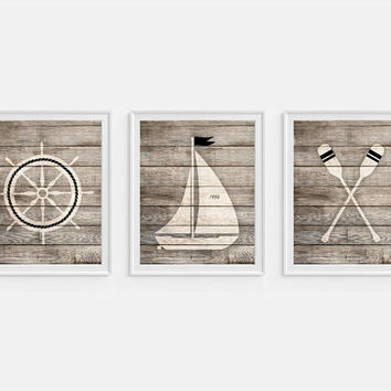 Nautical Decor, Nautical Art, Boys Nautical Nursery, Boat Art, Oars, Boat Wheel, Set of 3 Prints, Nautical Wall Art, Boys Room Decor