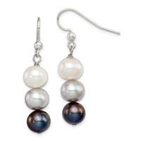 925 Sterling Silver FW Cultured White, Platinum and Black Pearl Earrings