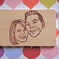 Hand Carved Custom Couple Portrait Stamp -DIY Wedding Stationery-Save the Date Engagement Invitations Thank You Cards