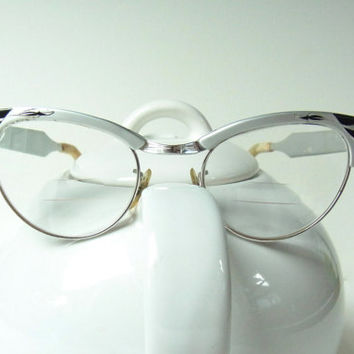 vintage cateye glasses womens eye glass frames silver black metal engraved 1950s 1950 1960s 1960 mid century midcentury