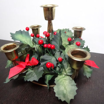Vintage Brass or Gold Tone Metal Christmas Candelabra with 5 Candle Holders and Faux Holly Berry & Leaf Foliage - Old Fashioned Christmas