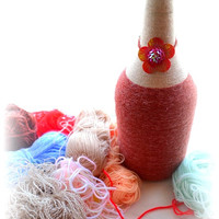 yarn wrapped bottle, rustic, fall, autumn home decor