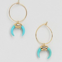 Orelia Gold Hoop Cresent Earrings in Turquoise at asos.com