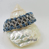 Beaded Chainmail Jewelry, Silver and Blue Rondo al a Byzantine Silver Fill and Niobium Chainmaille Bracelet, Wide Cuff Bracelet