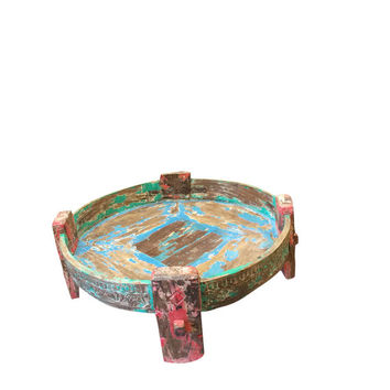 Antique Distressed wood Chakki Table Hand Carved Side Table India Furniture