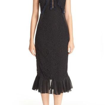 Rebecca Taylor Sleeveless Vien Lace & Jacquard Dress | Nordstrom