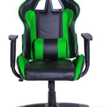 TimeOffice Ergonomic Gaming Chair Race Car Style with PU leather and Lumbar&Head Cushion for Computer Gaming and Office Working,Green