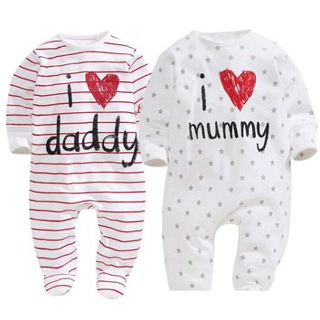 Cotton Baby Girl Clothes Polka Striped Baby Girls Romper Love Papa Mama Print Baby Girl Jumpsuits Spring Roupas De Bebe