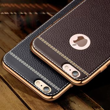 Litchi grain luxury Plating TPU silicone mobile phone case For iphone X 6 6s plus 7 5 5s se Case Plating Frame cover For iphone6