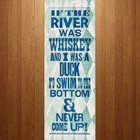 Whiskey Song Lyrics Letterpress Print