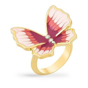 Bella 0.3ct CZ 14k Gold Butterfly Cocktail Ring