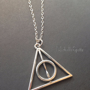 Harry Potter inspired Necklace The Deathly Hallows necklace Triangle necklace Leather necklace