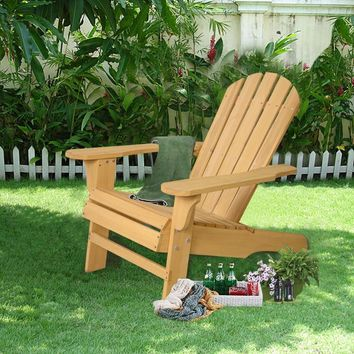 New Outdoor Natural Fir Wood Adirondack Chair Patio Lawn Deck Garden Furniture  HW48521