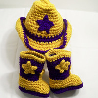 Baby Crochet, LSU Colors ,Cowboy Boots Hat, Purple and Gold, Baby Shower Gift, Made in the USA, #66