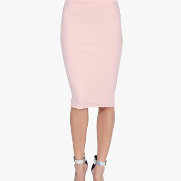 Light Pink Cut-Out High Waisted Pencil Skirt