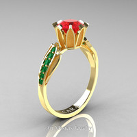 Cara 14K Yellow Gold 1.0 Ct Ruby Emerald Designer Solitaire Ring R423-14KYGEMR
