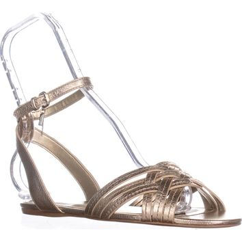 Coach Summers Ankle Strap Slide Sandals, Metallic Tumbles Platinum, 8 US