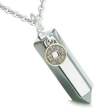Amulet Lucky Charm Coin Crystal Point Hematite Evil Eye ProtectiPositive Energy Pendant Necklace
